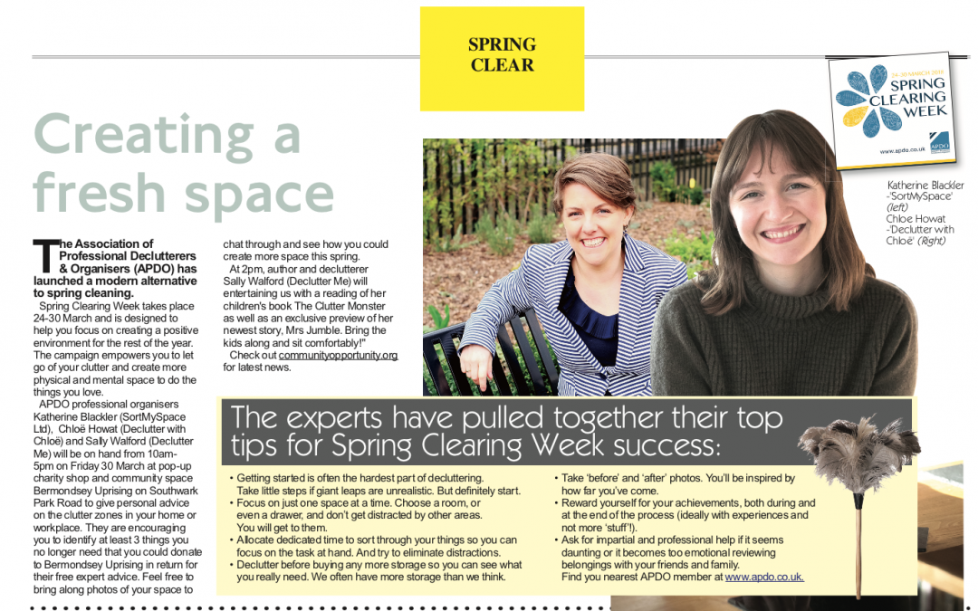 Declutter with Chloë featured in Greenwich Weekender